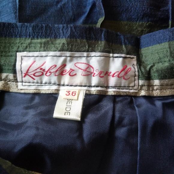 Vintage 1970s German Kobler Dirndl Women/'s Size 36 100/% Silk Pleated Metallic Midi Skirt Striped Green Blue A-Line